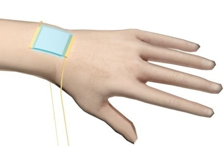 "A new kind of stretchy ""electronic skin"" (blue patch) is the first to be able to detect directional pressure. Credit: American Chemical Society"