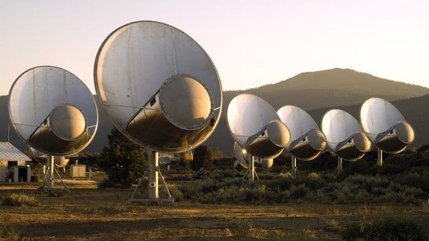 Seti listens out for signals using its own radio telescope array at Hat Creek in California via BBC