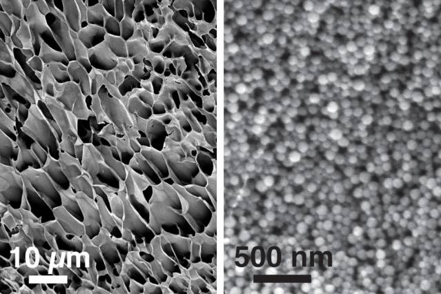 These scanning electron microscopy images, taken at different magnifications, show the structure of new hydrogels made of nanoparticles interacting with long polymer chains. Courtesy of the researchers