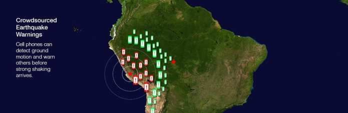 Crowdsourced Earthquake Warnings. Cell phones can detect ground motion and warn others before strong shaking arrives. Base map originally created by NASA. Artwork credit: Emiliano Rodriguez Nuesch with Pacifico.