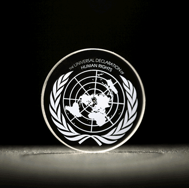 Universal Declaration of Human Rights recorded into 5D optical data storage