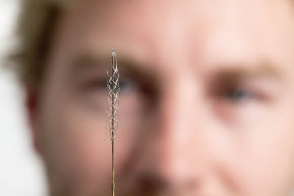 This tiny device can read signals from the brain's motor cortex. It will be implanted into humans in 2017 to use these signals to control an exoskeleton.
