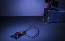 Charging a smartphone wirelessly across the room using a laser