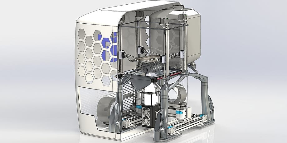 The 3D printer developed at TU Graz melts metal powder using high-performance LED light sources and then processes it into components in additive manufacturing. via TU Graz