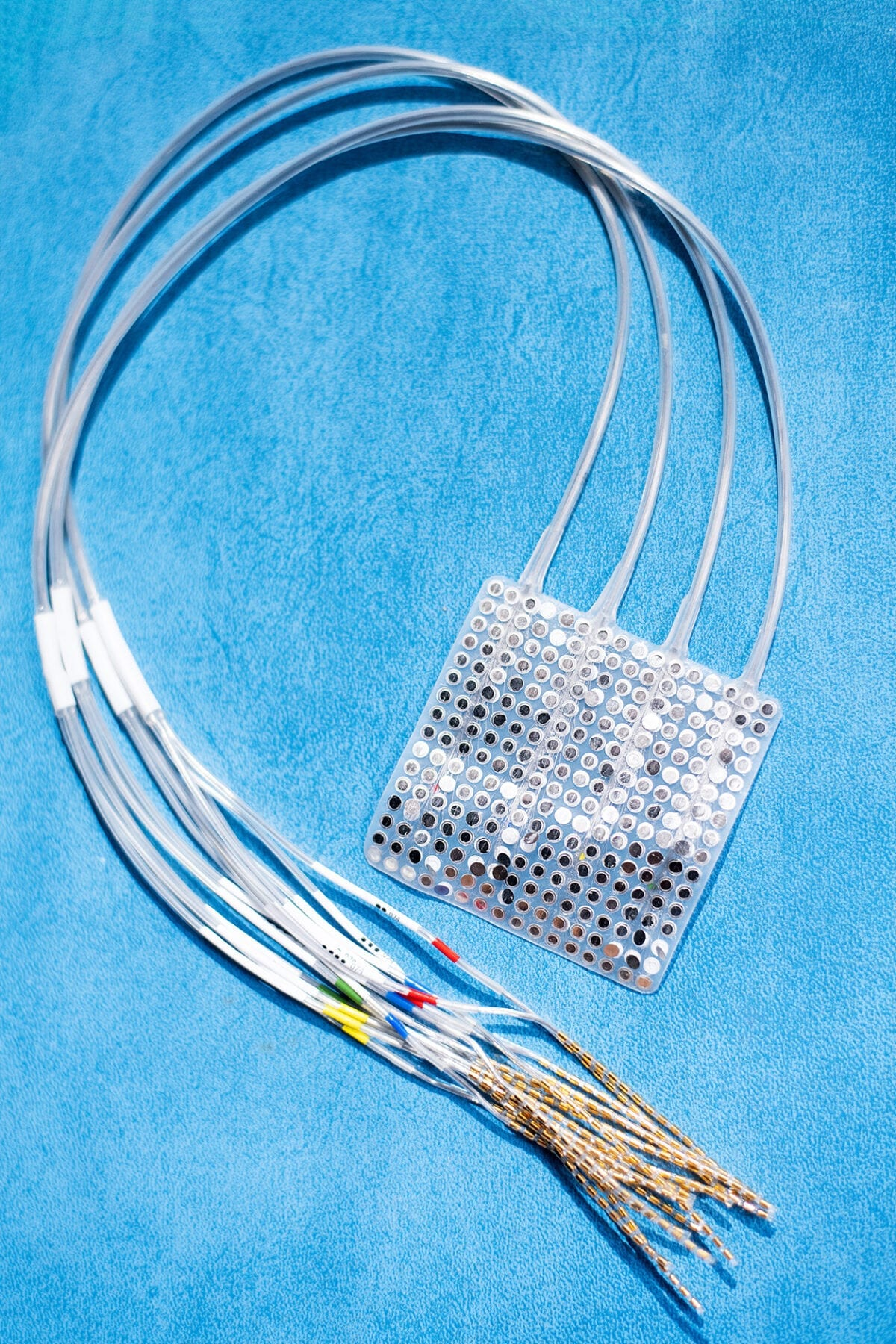 An ECoG array comprises a pad of electrodes that is surgically placed on the surface of the brain. Photo by Noah Berger