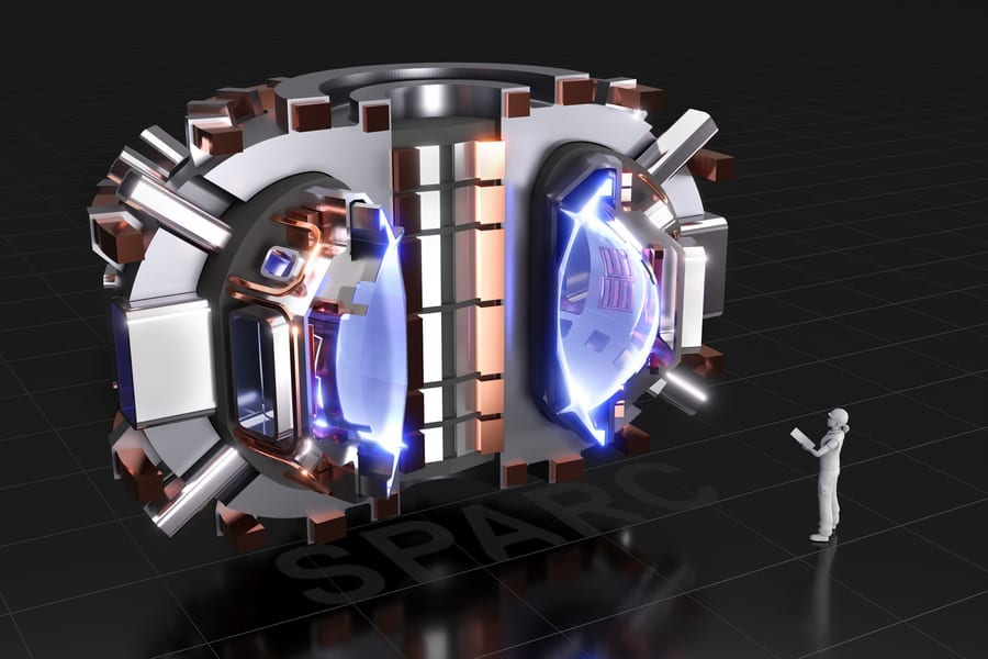 The image shows a cutaway rendering of SPARC, a compact, high-field, DT bruning tokamak, currently under design by a team from the Massachusetts Institute of Technology and Commonwealth Fusion Systems. Its mission is to create and confine a plasma that produces net fusion energy. Image: CFS?MIT-PSFC - - CAD Rendering by T. Henderson
