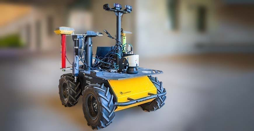 The base robot for the new plant-moisture-measuring system researchers are developing will navigate rows of crops to reach individual leaves and stems.