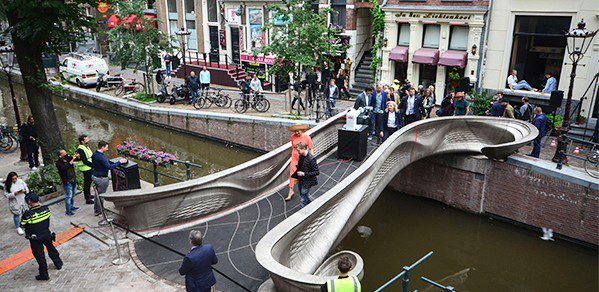 During the opening of the bridge by Her Majesty Queen Máxima of the Netherlands. Credit: MX3D / Adriaande Groot