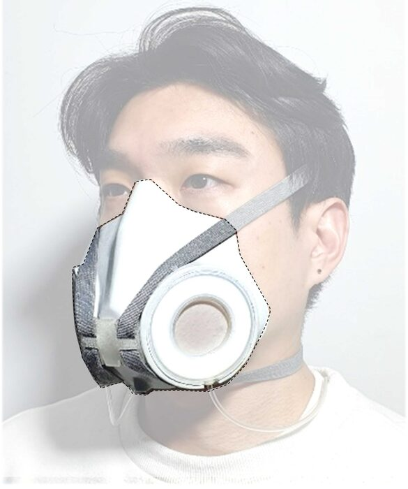 A dynamic respirator changes its pore size in response to changing conditions, making it easier for the wearer to breathe; clear tubing connects the mask to a portable device that communicates with a computer. Credit: Adapted from ACS Nano 2021, DOI: 10.1021/acsnano.1c06204