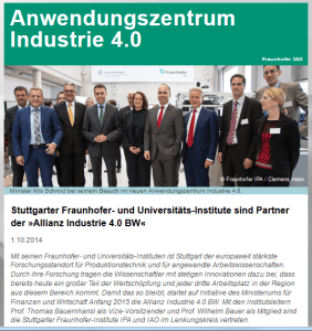 Anwendungszentrum Industrie 4.0 ist Partner der  »Allianz Industrie 4.0 BW«