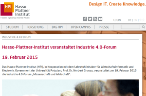 Industrie 4.0 - Forum am HPI
