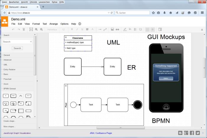 draw.io: Ein kostenloses Cloud-Tool für UML-, ER-, BPMN-Diagramme, GUI-MockUps uvm.
