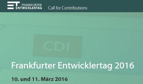 Frankfurter Entwicklertag 2016 am 10. und 11. März 2016
