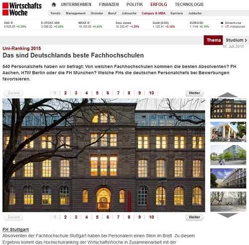 WiWo-Ranking 2015: HFT Stuttgart ganz vorne mit dabei