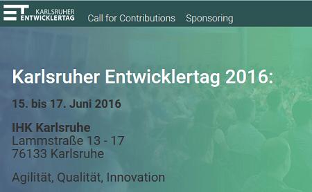 Karlsruher Entwicklertag 2016 vom 15. bis 17. Juni 2016