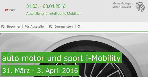 iMobility 2016 - Ausstellung für intelligente Mobilität vom 31.3. bis 3.4. in Stuttgart