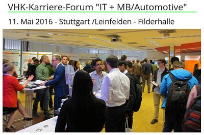 VHK Karriere-Forum IT + Maschinenbau/Automotive 2016 in Leinfelden / Stuttgart