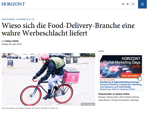 Interessanter Artikel auf Horizont: Werbeschlacht in der Food-Delivery-Branche (Quelle: Screenshot Horizont)