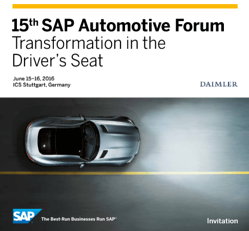 SAP Automotive Forum 2016 im Juni in Stuttgart