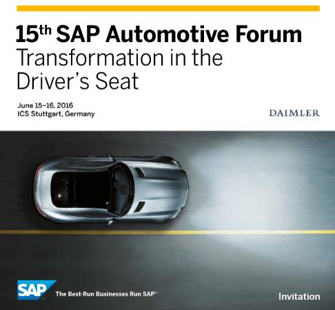 SAP Automotive Forum 2016 im Juni in Stuttgart