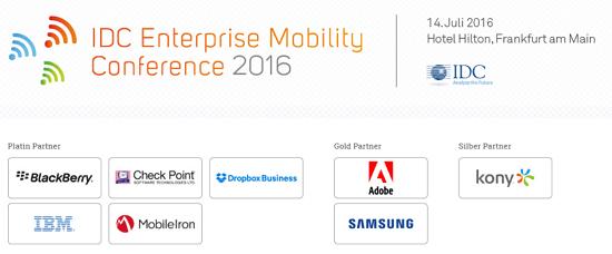 IDC Enterprise Mobility Conference 2016 am 14.7. in Frankfurt