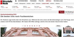 WiWo-Ranking 2016: HFT Stuttgart mit Informatik in den Top 10 (FHs)