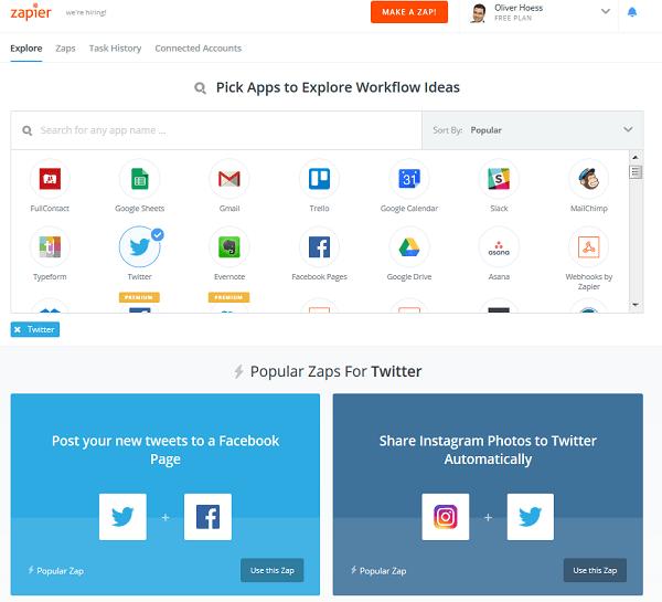 Zapier: Angebotene Cloud-Anwendungen
