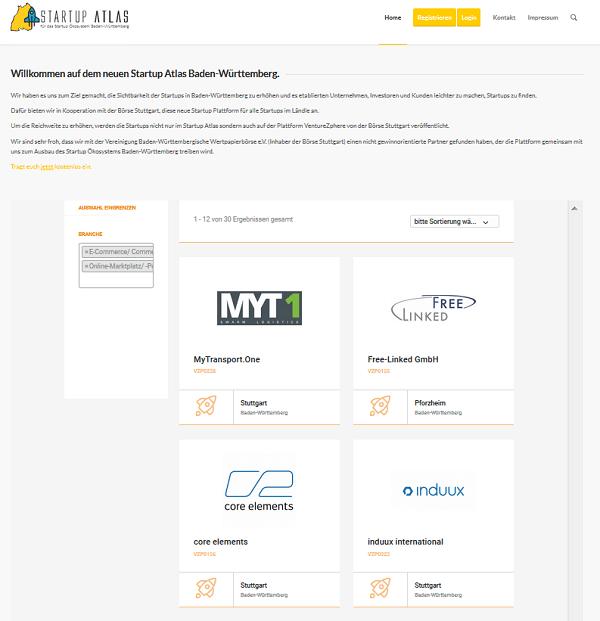 Startup Atlas BW: Suche (Screenshot)