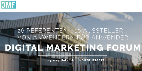 Sonderkonditionen für das Digital Marketing Forum 2018 in Stuttgart (Update)
