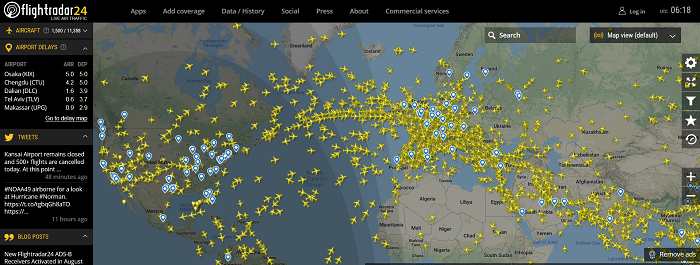 Flightradar24 - Europa, USA und Hauptflugrouten
