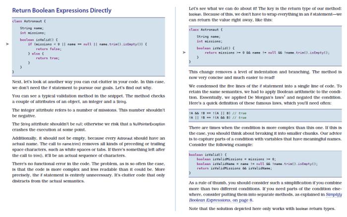 Einfaches Beispiel aus dem Buch Java by Comparison