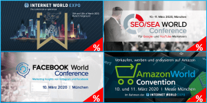 INTERNET WORLD EXPO 2020 mit Side Events zu SEO/SEA, Facebook und Amazon