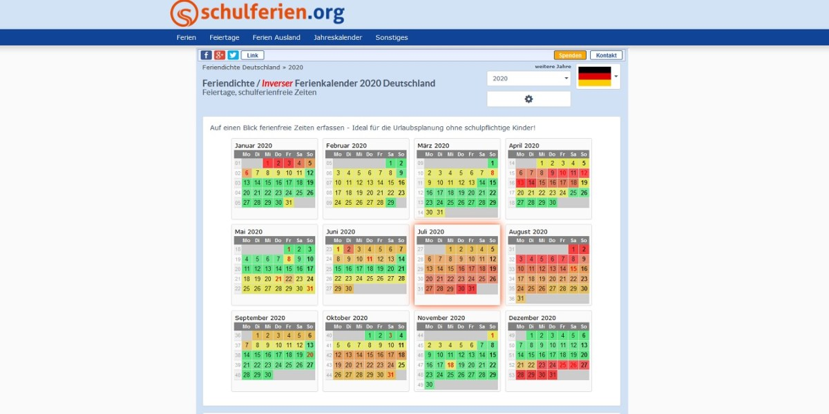 Feriendichte in Deutschland auf Schulferien.org #Ferien # ...