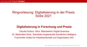 Gastvortrag: Digitalisierung in Forschung und Praxis