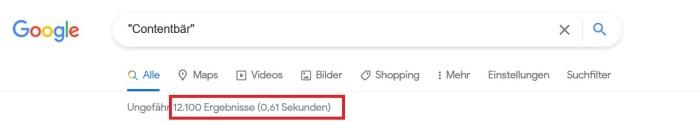 Contentbär - Über 12.000 Ergebnisse im Google-Index