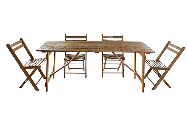Vintage Trestle Tables And 4 X Folding Chairs