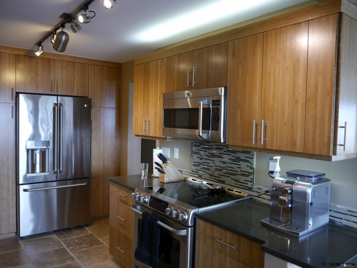 bamboo kitchen cabinets wooden bench for table queen anne seattle modern remodel with cabinetry caramelized full height pantry built in look refrigerator