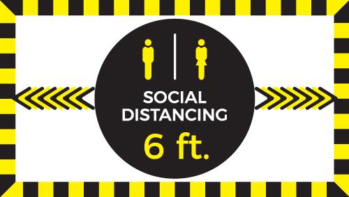 """12""""x22"""" Social Distancing (Wall, Floor, Window) 020"""