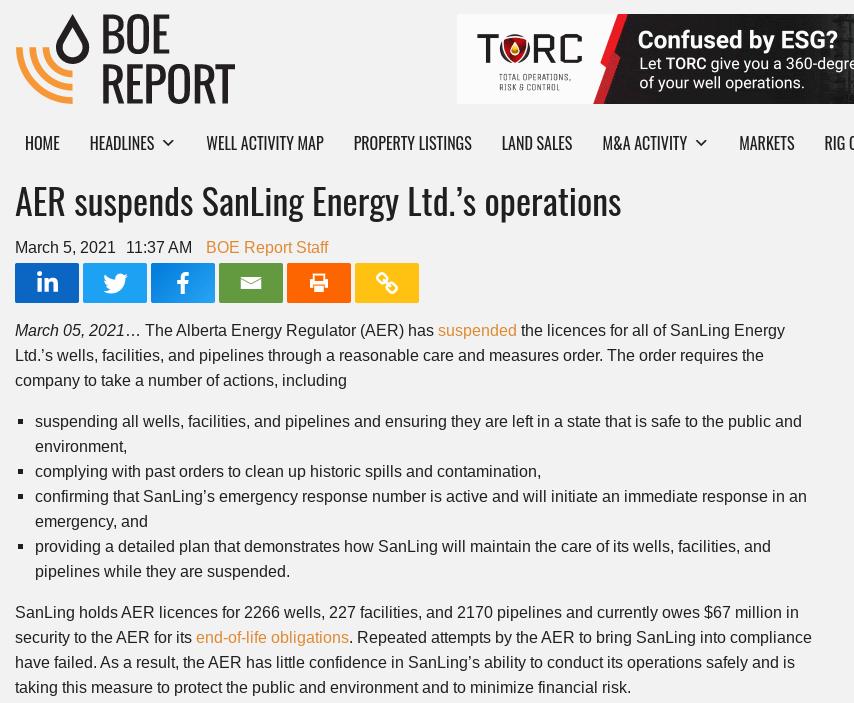 Sanling Energy AER Suspension