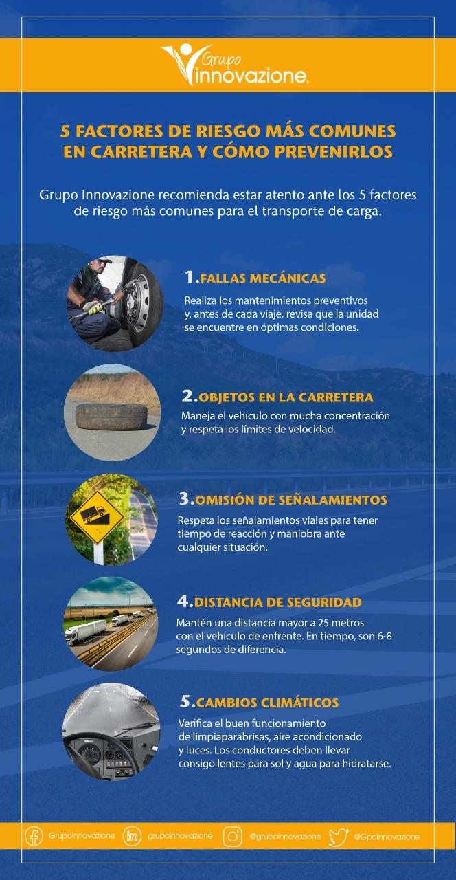 5 factores de riesgo más comunes en carretera y cómo prevenirlos