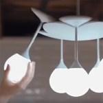 Ce lustre Doolight se décompose en cinq lampes mobiles utilisables indépendamment.