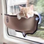 Le panier pour chats PetMe s'accroche sur une paroi verticale permettant ainsi de gagner de la place au sol.