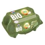 Cette boîte à oeufs Lustrucru est composée à base d'herbe et est totalement compostable.