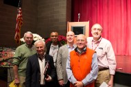 Pictured from left to right are Fordham Prep principal Robert Gomprecht, Canisius High School president Fr. Joseph Costantino, SJ, guest speaker Fr. Agbonkhianmeghe E. Orobator, SJ, Provincial of the East African Province, Fordham Prep President Fr. Christopher Devron, SJ, Xavier High School President Jack Raslowsky and Fr. James Croghan, SJ, director of Ignatian Identity Programs at Regis High School.