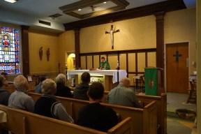 Fr. Pellegrini, SJ, says Mass for the men.