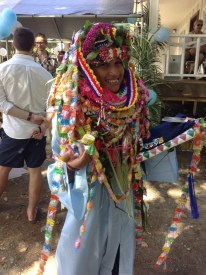 Seniors were given leis by their families as part of the graduation celebration.