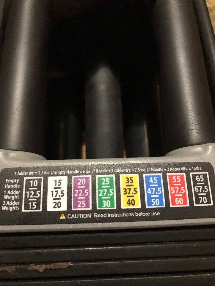 The weight increments for my amazing set of PowerBlock Dumbbells