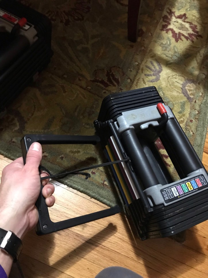 Quickly and easily adjusting the weight of my PowerBlock Dumbbell
