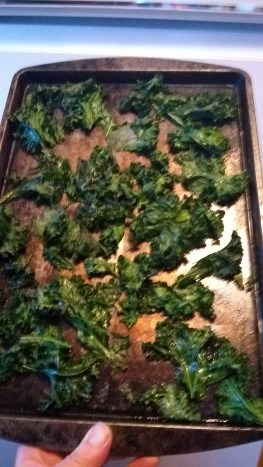 Crispy kale chips straight from the toaster oven!
