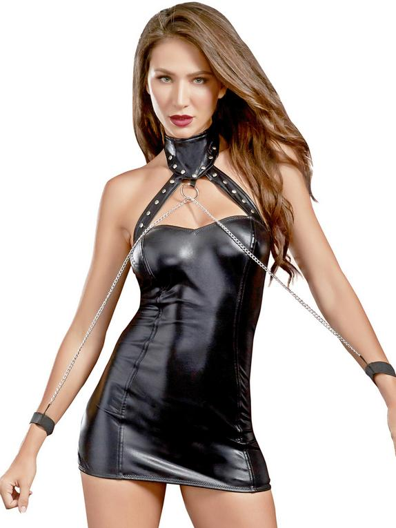 Dreamgirl Black Wet Look Open Back Chemise and Restraints Set
